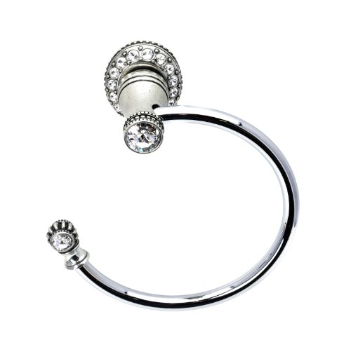 Carpe Diem Hardware 1831-9C Cache'-II Towel Ring Left Sml Escutcheon with Crystals Made with Swarovski Elements, Chalice
