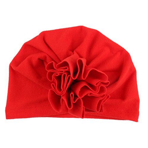 Kaicran Kids Hat Adorable Baby Knot Headbands Newborn Solid Color Flower Hat Headwear Hat (Flowers Red Hat Gift Bag)