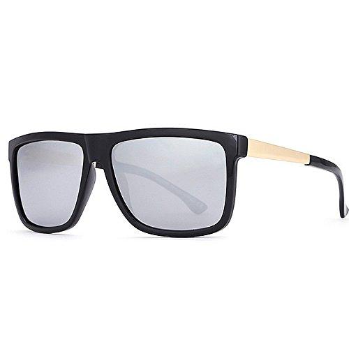 Gafas Negro Europa Glasses Sol Espejo Casual para Plata Polarizadas Color de Metal Explosive Sra América Square Hombre De Hombres LBY Gafas Sol Piernas para Y La d7q0ZgwdO