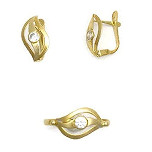 Conjunto de Oro de 18K de Anillo y Pendientes para Niñas Perez Mora P.M-CON-003