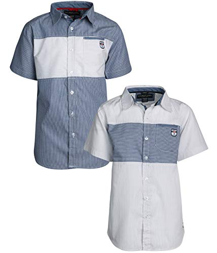 (U.S. Polo Assn. Boy\\\'s Short Sleeve Woven Shirt (2 Pack) White Stripes/Blue, Size 12/14')