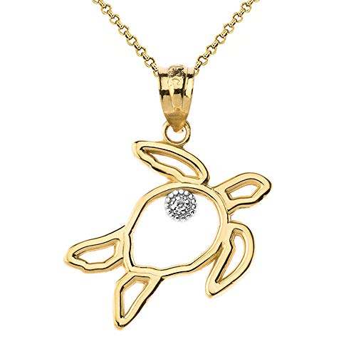 Fine 14k Yellow Gold Solitaire Diamond Cut-out Good Luck Sea Turtle Pendant Necklace, ()