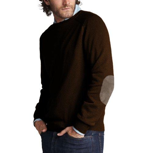 Parisbonbon Men's 100% Cashmere Elbow Pad Sweater Color C...