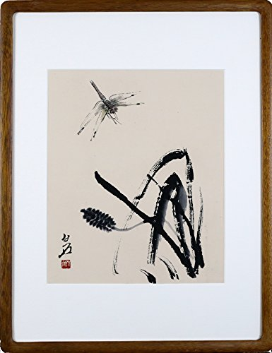 IglooArts- Giclee Print of Contemporary Asian Paintings - Dragonfly and Grass - Qi Baishi - Price Cut by 30% for Holidays - Framed and Ready to Hang - 19