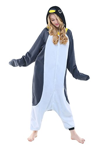 Newcosplay Halloween Fleece oneise adult pajamas (S, Gray Penguin)