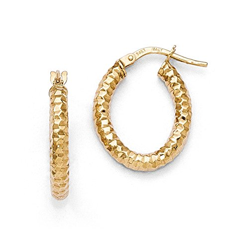 3mm Textured Oval Hoop Earrings in 14k Yellow Gold, 20mm (3/4 Inch)
