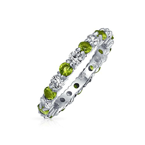 Cubic Zirconia Love Green White Alternating Stackable CZ Eternity Ring Simulated Peridot 925 Sterling Silver August