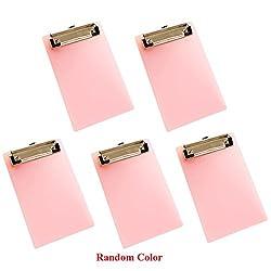 Olpchee 5 Pack Mini Transparent Clipboard Tiny A6 Clip Boards Colourful Plastic Clipboard Memo Size Low Profile Clip (Random Color)