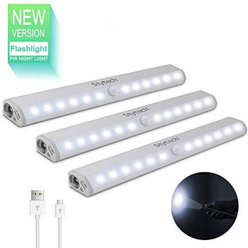 Motion Sensor Light with Flashlight, 12 LED Night Light, Medicine Cabinet Lighting, Stick-on Anywhere, Closet Light USB Rechargeable
