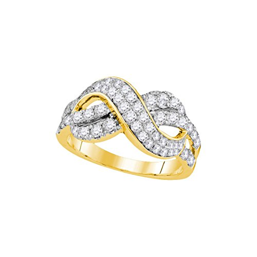 Diamond Ring 14kt Gold Brilliant (14kt Yellow Gold Womens Round Diamond Infinity Crossover Band 1.00 Cttw)