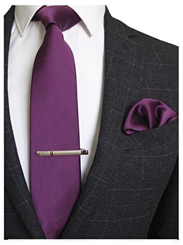 (JEMYGINS Purple Formal Necktie and Pocket Square, Hankerchief and Tie Bar Clip Sets for Men)