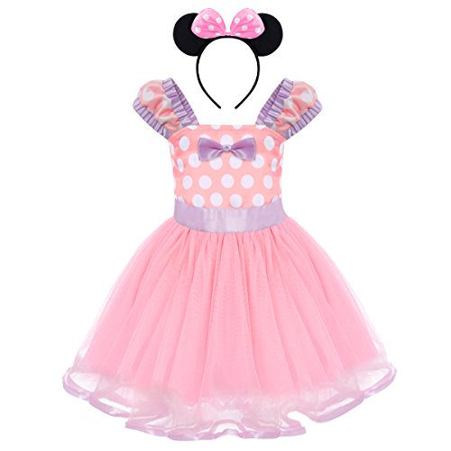 Minnie Costume Baby Girl Tutu Dress Mouse Ear Headband Polka Dot First Birthday Halloween Fancy Dress Up Princess Outfits Pink & Lilac 3 Years