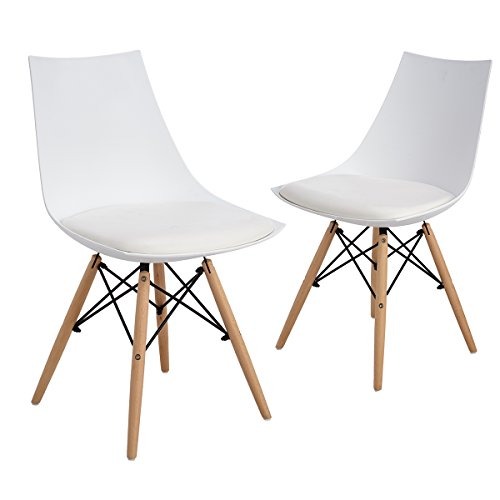 ELERANBE Set of 2 Eames DSW Modern Upholstered Mid Century Side Dining Chair with Diamond Seat & Eiffel Wood Leg, for Dining Living Room Restaurant Bedroom Cafe ,White