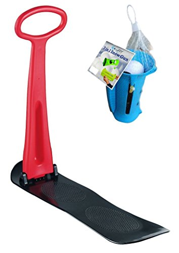 Kids Snow Scooter Ski Scooter Fold-up Snowboard Kick-Scooter Sledge Assort Color and SnowBall fights blaster snow fight Combo