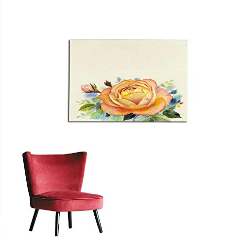 Wall Sticker Decals Watercolor Painting Original Realistic Orange Color Flower of Rose Mural 36