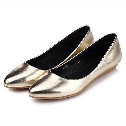 VogueZone009 Damen Ziehen auf Spitz Zehe Ohne Absatz Rein Flache Schuhe Golden