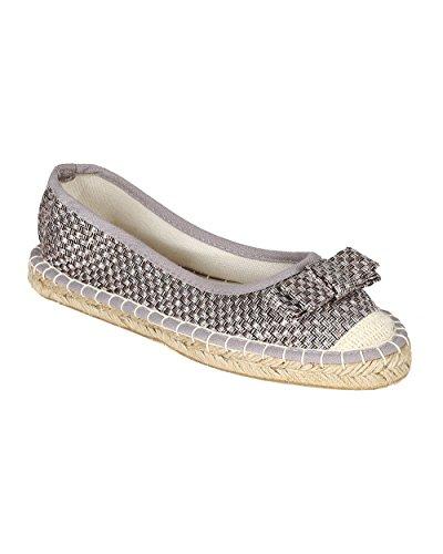 Cap Toe Bow - Qupid Women Weaved Linen Cap Toe Bow Tie Espadrille Slip On Flat CB50 - Silver (Size: 6.0)