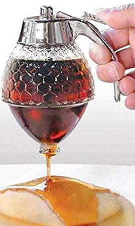 Norpro Glass Honey Dispenser with a mesh Tea Ball and a Teaspoon for measuring loose tea