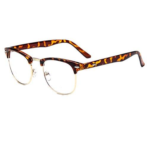 [80's - 'ClubsMen' Half Frame Clear Lens Glasses] (Cheap Nerd Glasses)