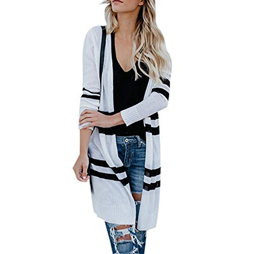 - shusuen Fashion Women Lightweight Cardigans Long Sleeve Stripe Cardigan Tops Sweater Knitted Hooded Coat Pocket Knitting Tops