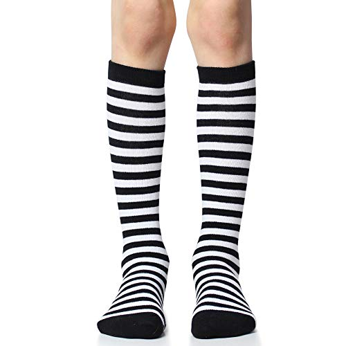 juDanzy Knee High Socks With Grips for Babies, Toddlers & Children (one pair) (2-4 Years, Black and white stripe) -