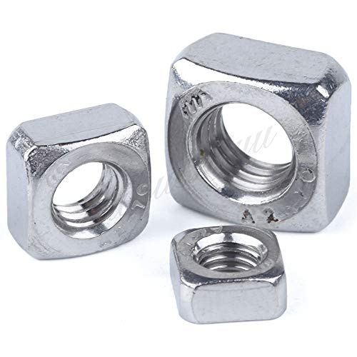 50Pcs DIN557 GB39 M3 M4 M5 M6 M8 304 Stainless Steel Square Nuts HW052 M8 20Pcs by Nuts Clamping