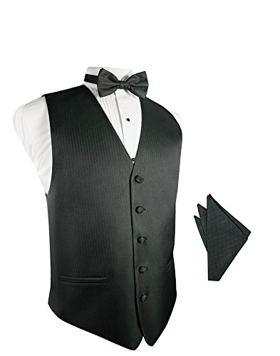 (Asphalt Herringbone Tuxedo Vest with Bowtie & Pocket Square Set)