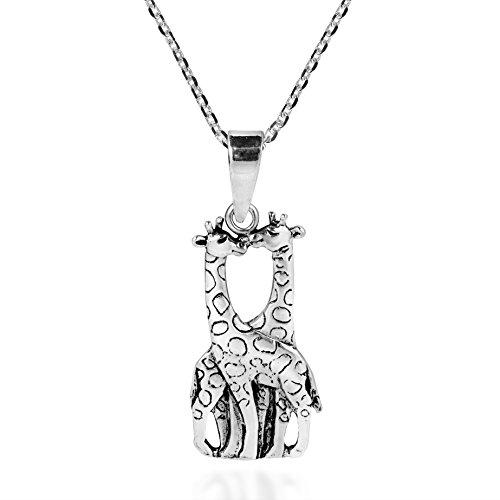 AeraVida Giraffe Couple in Love .925 Sterling Silver Necklace