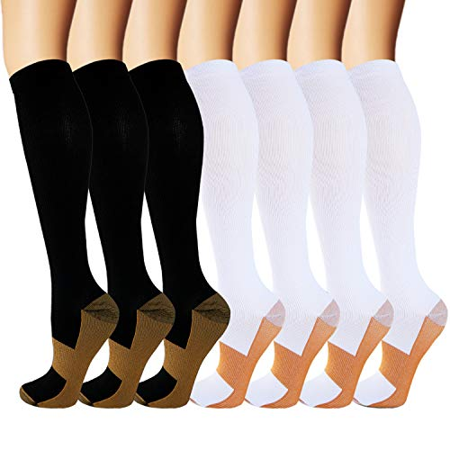 7 Pack Copper Knee High Compression Socks For Men & Women-Best For Running,Athletic,Pregnancy and Travel -15-20mmHg (S/M, Multicoloured) (Benefits Of Wearing Compression Socks For Nurses)