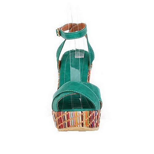 Donne Punta Verde Alti Dell'unità Solidi Delle Elaborazione Fibbia Voguezone009 Aperta Sandali Ccalp015519 Di Tacchi Fq06Yw5