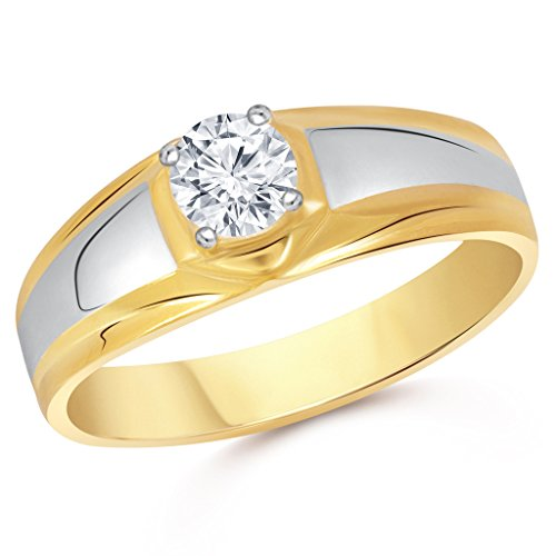VK Jewels Solitaire Gold and Rhodium Plated Alloy Ring for Men Made with Cubic Zirconia   FR1899G [VKFR1899G]