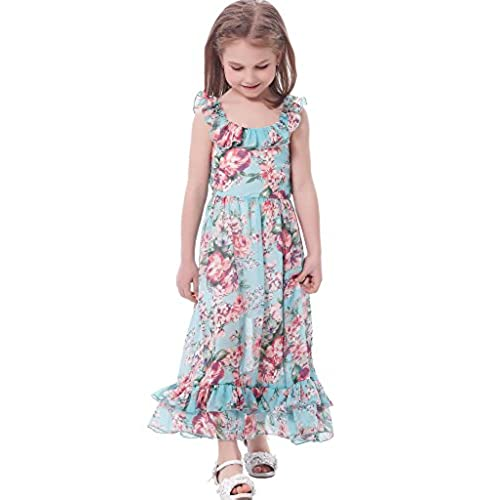 Bonny Billy Girls Spaghetti Straps Casual Bohemian Beach Maxi Long Dress 7-8Y Aqua