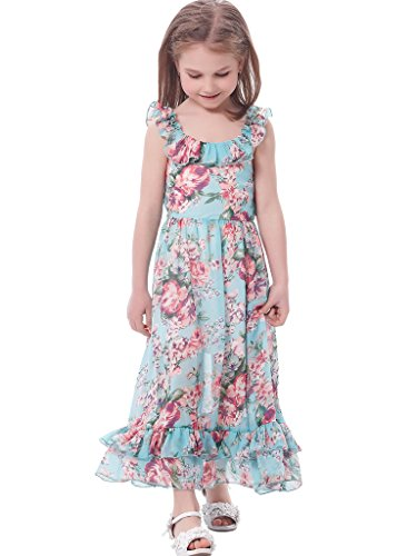 Bonny Billy Girl's Spaghetti Straps Casual Bohemian Beach Maxi Long Dress 8-9Y (Aqua Stretch Dress)