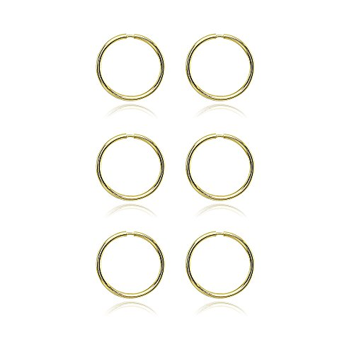 14K Gold Tiny Small Endless 10mm Thin Round Lightweight Unisex Hoop Earrings, Set of 3 Pairs by Hoops 4 Less (Image #2)
