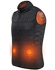 Xcellent Global Power Bank Heated Vest Top, Sleeveless Puffy Insulated Jacket with Zip,Electric Vest with Mesh Details,Ideal for Outdoor Motor Bicycle Hiking Skiing Camping with USB Interface