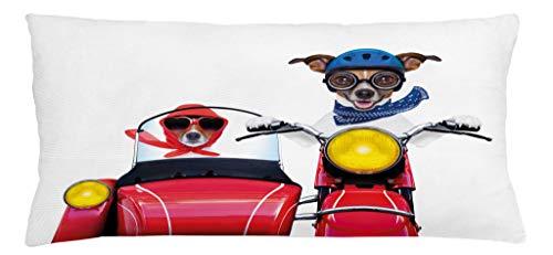 Jack Clubs Russell Terrier - Ambesonne Dog Driver Throw Pillow Cushion Cover, Jack Russell Terriers on a Vintage Motorbike Wearing Scarves Funny Cute Animals, Decorative Square Accent Pillow Case, 36 X 16 Inches, Multicolor