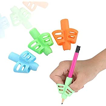 Universal Ergonomic Writing Aid Silicone Pencil Grip for Children Kids Adults Blue Finger Grips Holder Handwriting Tool for Special Needs Righties or Lefties-6 Counts Blue Pencil Grips