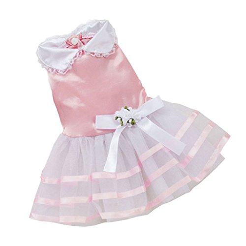 Image of BEAUTYVAN, 2015 Pet Dog Puppy Tutu Princess Dress Stripe Bow Lace Skirt Clothes Pet Apparel (S, Pink)