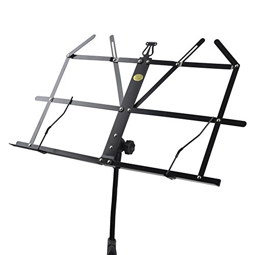 ADM Folding Adjustable Music Stand with Carrying Bag, Portable Metal Holder for Sheet Music, Black by ADM (Image #5)
