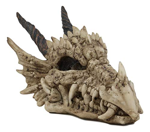Collectible Miniatures Game - Ebros Gift Jurassic Beowulf Elder Dragon Head Skull Realistic Fossil Statue 7.75
