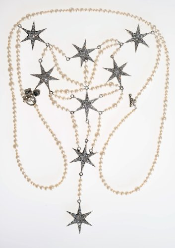 tal Star and Pearl Strand Statement Necklace (Otazu Swarovski Crystal)