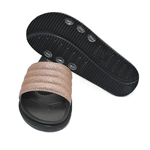 Pörröinen Naisten Liukumäki Lämpimällä Pehmeät Tasainen Tossut Kultaa Sandaalit Tekoturkiksia Coface Eva 8qAUawAd