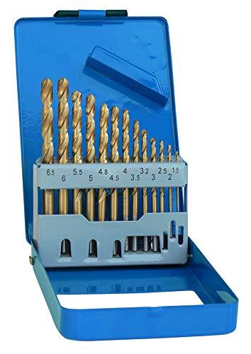 S&R Juego de 13 Brocas Metal Titanio HSS 1,5-6,5 mm, 135 ° DIN 338, Profesionales