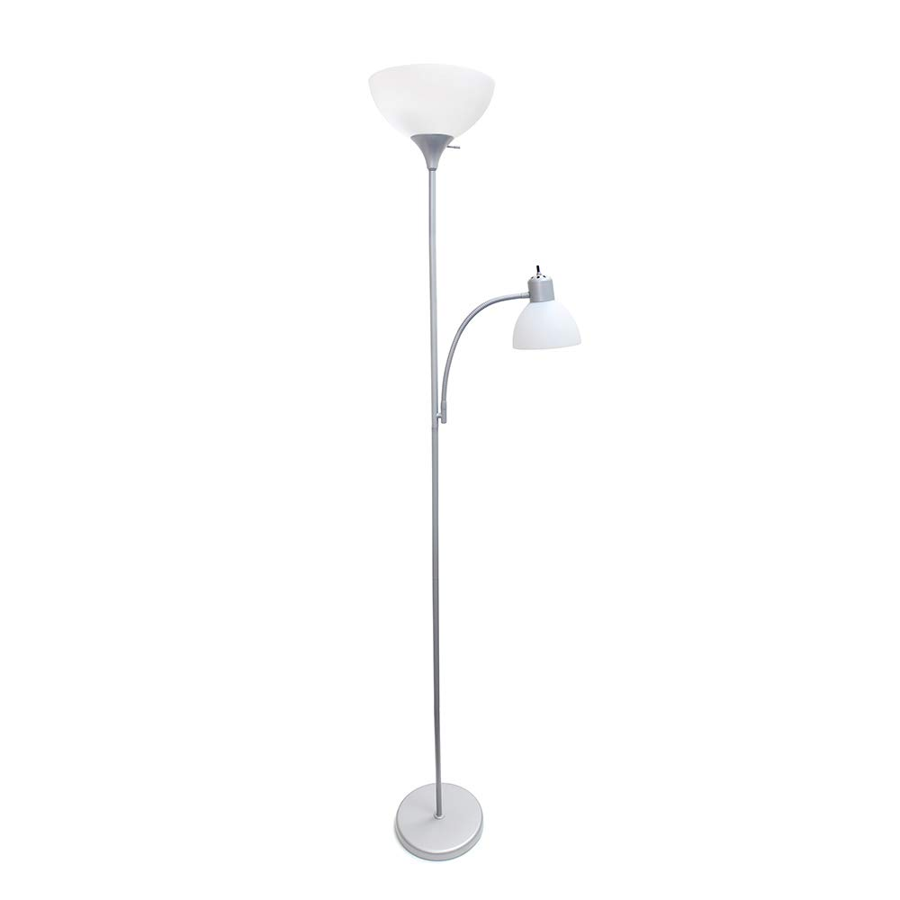 Simple Designs Home LF2000-SLV Floor Lamp with Reading Light, Silver