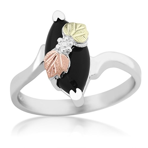 Slim-Profile Marquise Onyx Bypass Ring, Sterling Silver, 12k Green and Rose Gold Black Hills Gold Motif, Size 9 by Black Hills Gold Jewelry