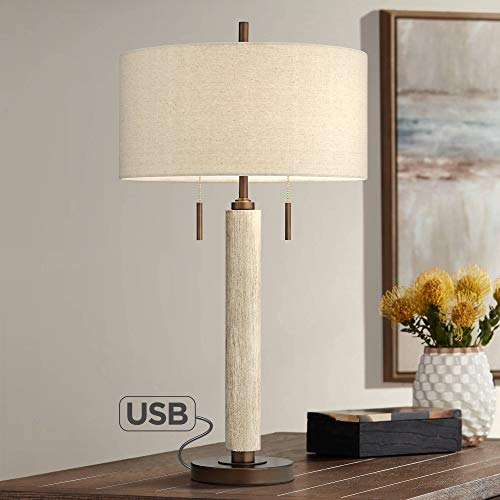 Hugo Mid Century Modern Table Lamp with USB Charging Port Wood Column Drum Shade for Living Room Bedroom Bedside Nightstand Office Family - Franklin Iron Works