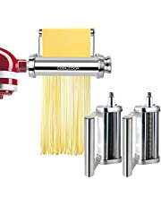 Pasta Maker Attachment for KitchenAid Stand Mixers Three-Piece Set Includes Pasta Sheet Roller and Spaghetti Cutter, Fettuccine Cutter, Durable Pasta Attachments for KitchenAid