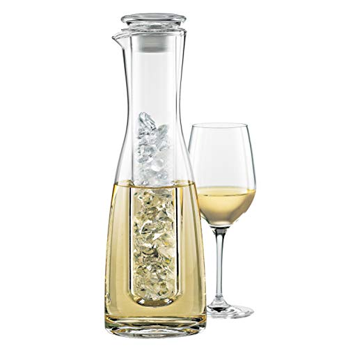 Wine Enthusiast 2-Piece Lead-Free Blown Crystal Glass Wine Chilling - Chiller Pitcher