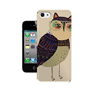 HBox Hot Sale Phone Cover Protector for All People with Owl Wearing Glasses Snap on Hard Plastic Phone Case Skin Shell for iPhone 4 4S Case