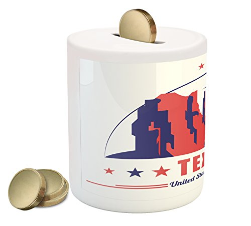 Cheap  Texas Star Coin Box Bank by Ambesonne, Texas State Map with Cowboy..